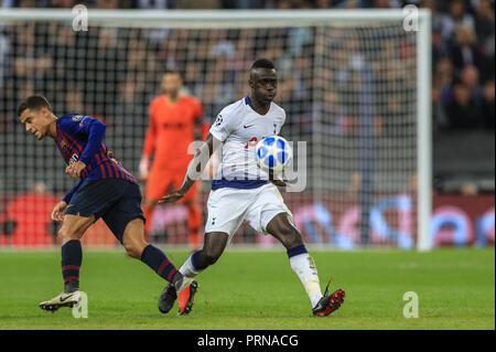 London, UK. 3rd October 2018, Wembley Stadium, London, England; UEFA Champions League, Tottenham v Barcelona ;  Credit: Mark Cosgrove/News Images - Stock Photo