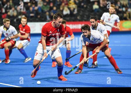 London, UK. 3rd October, 2018. during the Anniversary International in partnership with Toshiba TVs: the 2018 Men's Test Matches between Great Britain and Belgium on Wednesday, 03 October 2018. London, England. (Editorial use only, license required for commercial use. No use in betting, games or a single club/league/player publications.) Credit: Taka Wu/Alamy Live News - Stock Photo