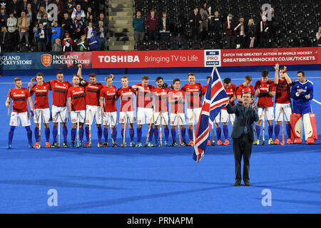 London, UK. 3rd October, 2018. Great Britain  line up to play Belgium to celebrate the 30th Anniversary of the 1988 Olympic Hockey Gold medal. Credit: Nigel Bramley/Alamy Live News - Stock Photo
