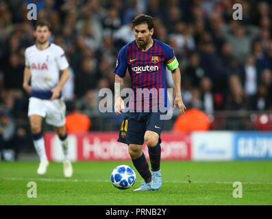 London, UK. 3rd October, 2018. October 3, 2018 - Lionel Messi of Barcelona .during UEFA Champions League Group B match between Tottenham Hotspur and FC Barcelona at Wembley stadium in London, United Kingdom on 3 October 2018 Credit: AFP7/ZUMA Wire/Alamy Live News Credit: ZUMA Press, Inc./Alamy Live News - Stock Photo