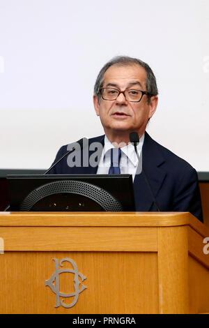 Minister of Economy Giovanni Tria Roma 04/10/2018. Presentazione del Rapporto ASviS 2018. Rome October 4th 2018. Presentation of the ASviS report 2018. Foto Samantha Zucchi Insidefoto - Stock Photo