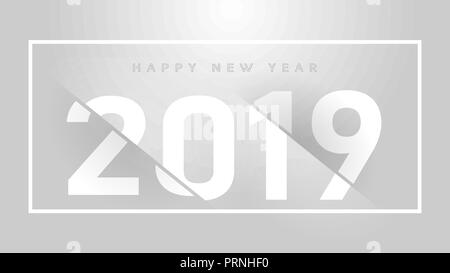 New Year Celebration Premium Grey Background Pper Cut Design. Vector winter holiday greeting card design template. - Stock Photo