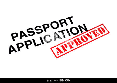Passport Application heading stamped with a red APPROVED rubber stamp. - Stock Photo