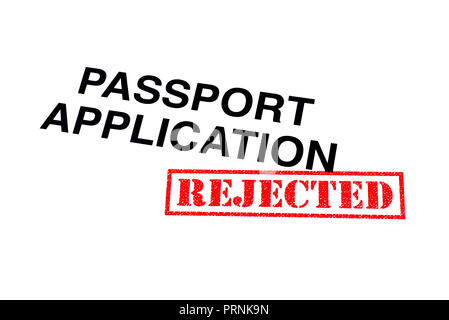 Passport Application heading stamped with a red REJECTED rubber stamp. - Stock Photo