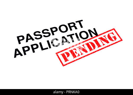 Passport Application heading stamped with a red PENDING rubber stamp. - Stock Photo