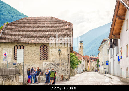The historic town of Glorenza/Glurns in the south of Malles/Mals is one of the smallest cities in the world. Trentino Alto Adige/South Tyrol - Italy - Stock Photo