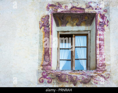 Glorenza In South Tyrol/Trentino Alto Adige, Italy. characteristic window of the small historical town - Stock Photo