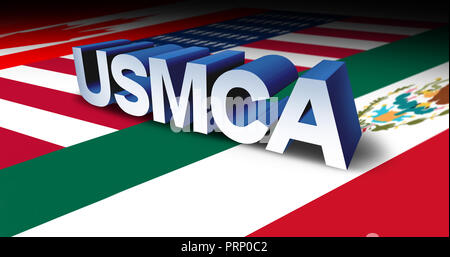 USMCA or the new NAFTA United States Mexico Canada agreement symbol with north america flags as a trade deal negotiation and economic deal. - Stock Photo