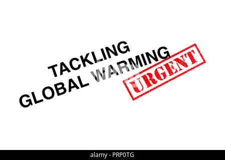 Tackling Global Warming heading stamped with a red URGENT rubber stamp. - Stock Photo