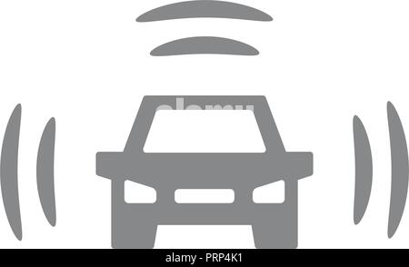 Vector smart car icon. Intelligent vehicle, automobile with wifi symbol and sign illustration on white background. - Stock Photo