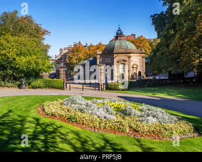 Royal Pump Room Museum from Valley Gardens in early autumn at Harrogate North Yorkshire England - Stock Photo
