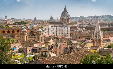 Panoramic sight from the Pincio Terrace with the dome of the Basilica of Ambrogio e Carlo al Corso, Rome, Italy. - Stock Photo