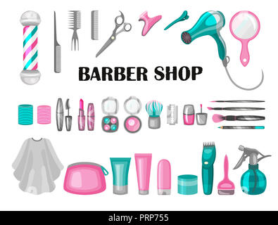 Composition of the set of icons for the Barber shop. elements for your web design, in flat linear illustration style - Stock Photo
