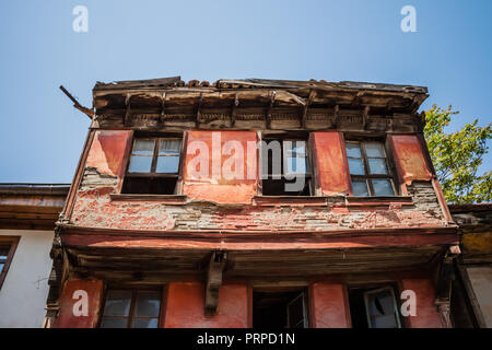 Traditional Turkish house waiting for restoration and renovation in Eskisehir - Stock Photo