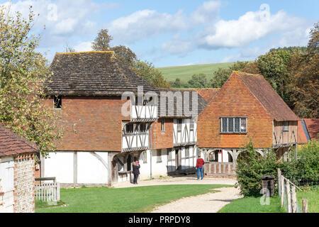 Timber-framed buildings, Market Square, Weald & Downland Living Museum, Town Lane, Singleton, West Sussex, England, United Kingdom - Stock Photo