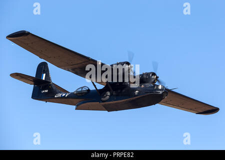 Consolidated PBY Catalina Flying boat VH-PBZ operated by the Historical Aircraft Restoration Society (HARS) wearing the famous ÔBlack CatsÕ livery fro - Stock Photo