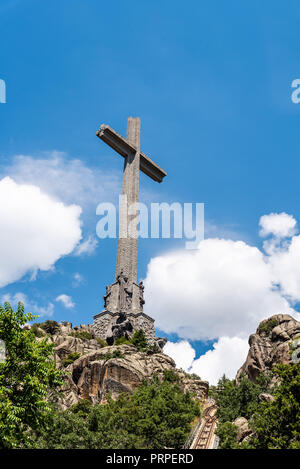 San Lorenzo de El Escorial, Spain - July 7, 2018: Outdoor view of The Valle de los Caidos or Valley of the Fallen. It was erected to honour those who  - Stock Photo