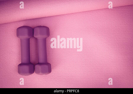 photo of two purple weights on a pink yoga mat - Stock Photo