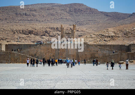 A view of Persepolis in Iran from below - Stock Photo