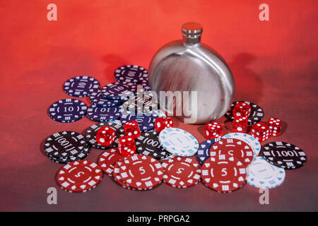 Casino abstract photo. Poker game on red background. Theme of gambling. - Stock Photo