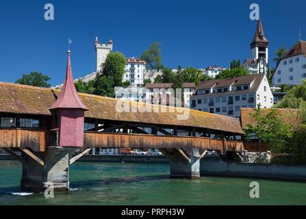 The Spreuer Bridge over the Reuss, Lucerne, Switzerland - Stock Photo