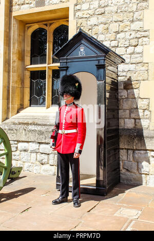 London, UK - May 27 2015: Queen's Guard or Queen's Life Guard at the Tower of London - Stock Photo