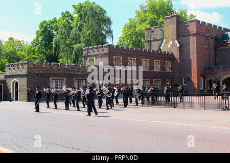 LONDON, UNITED KINGDOM - MAY 26, 2015: Royal Armoured Corps Band mount parade and provided the musical support for both old and new Queens Guard at St - Stock Photo