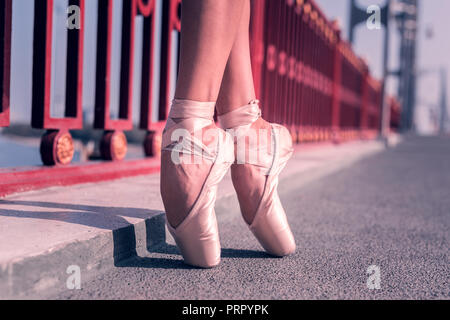 Nice female ballet dancer wearing pointe shoes - Stock Photo