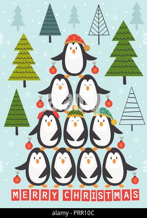 card with Christmas tree of penguins - vector illustration, eps - Stock Photo