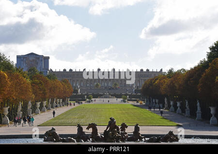 Versailles, France - October 1, 2018 View of Palace of Versailles and Apollo Fountain - Stock Photo