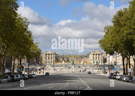 Versailles, France - October 1, 2018: View of the palace from Avenue de Paris - Stock Photo