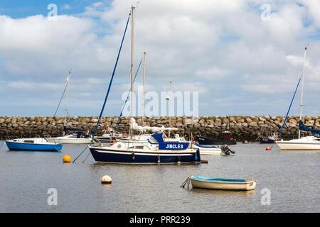 Yachts at anchor Rhos-on-Sea, Llandudno North Wales UK - Stock Photo