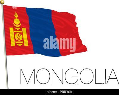 Mongolia official flag, vector illustration - Stock Photo