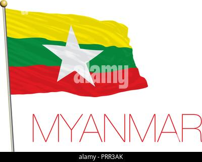 Myanmar official flag, vector illustration - Stock Photo