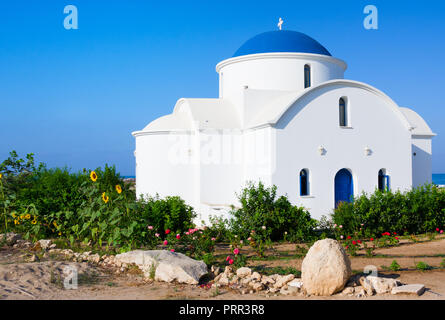 The multi Denominational Church of St Nicholas on a shore closeup in Paphos, Cyprus - Stock Photo