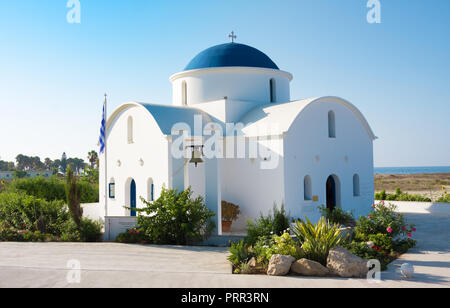 Paphos, Cyprus - July 20, 2017: The multi Denominational Church of St Nicholas on a shore closeup in Paphos, Cyprus - Stock Photo