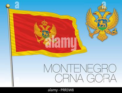 Montenegro official flag, vector illustration - Stock Photo
