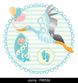 Baby shower frame. Stork carrying a cute baby in a bag. It s a boy Baby boy announcement card template. Place for your text. - Stock Photo