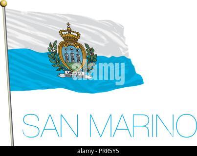 San Marino Republic official flag, vector illustration - Stock Photo