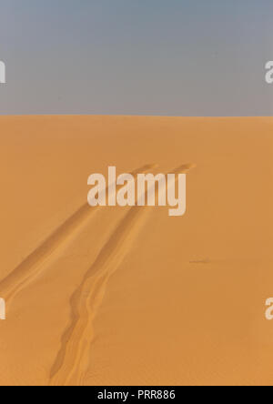 Car tracks in the sand of the namib desert, Namibe Province, Iona National Park, Angola - Stock Photo