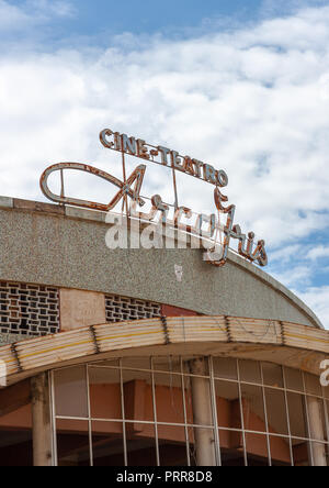 Old portuguese colonial cine teatro arco iris, Huila Province, Lubango, Angola - Stock Photo