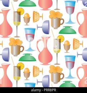 Tropical cocktails, juice, wine and champagne glass set. Vector hand drawn doodle illustration. Various isolated cocktail glass . - Stock Photo