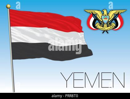 Yemen official flag, vector illustration - Stock Photo
