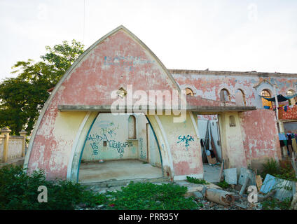 Old portuguese colonial house in ruins, Benguela Province, Lobito, Angola - Stock Photo
