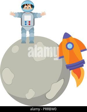 Astronaut boy on moon - Stock Photo