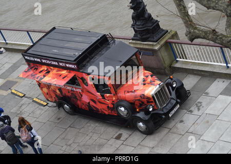 Waterloo Bridge, London, UK. 10th March 2017 on SouthBank of the Thames. Van (Bonkers and British) selling mulled wine, spiced cider and hot whiskey - Stock Photo