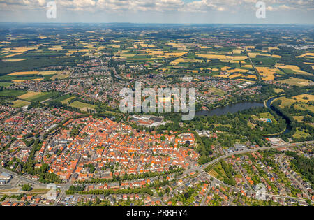 City view with Emssee and Ems, Warendorf, Münsterland, North Rhine-Westphalia, Germany - Stock Photo