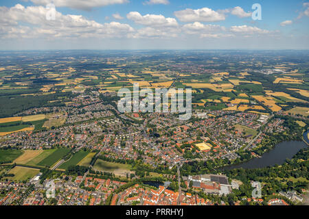 City view with Ems, Warendorf, Münsterland, North Rhine-Westphalia, Germany - Stock Photo