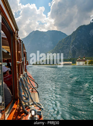 View from a passenger boat on St. Bartholomä at Lake Königssee off the Watzmann massif, Berchtesgaden National Park - Stock Photo