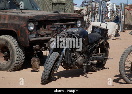 Edwards, CA/USA - September 2018: The annual Wasteland Weekend post-apocalyptic festival takes place in the Mojave Desert. - Stock Photo